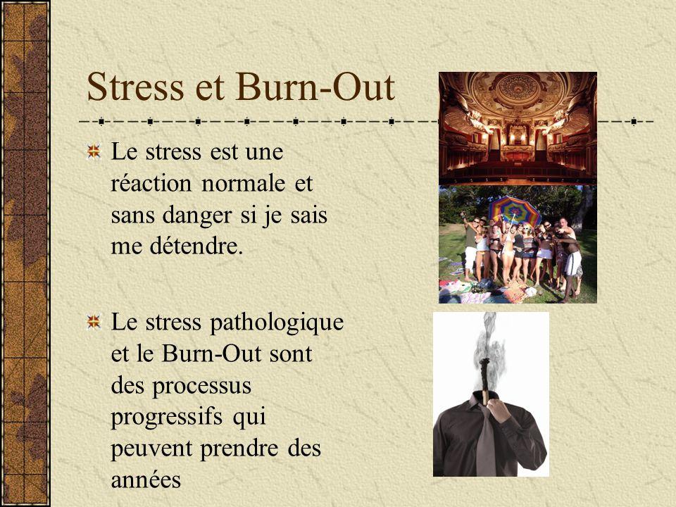 Stress et Burn-Out Le stress est une réaction normale et sans danger si je sais me détendre.