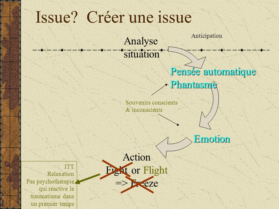Issue Créer une issue Analyse situation Pensée automatique Phantasme