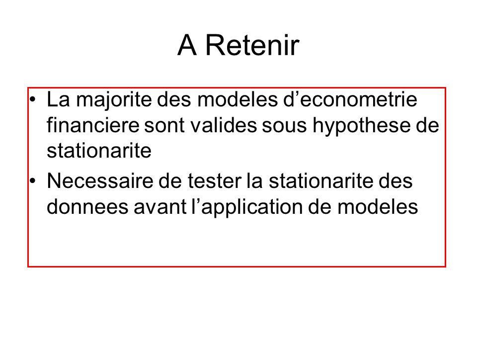 A Retenir La majorite des modeles d'econometrie financiere sont valides sous hypothese de stationarite.
