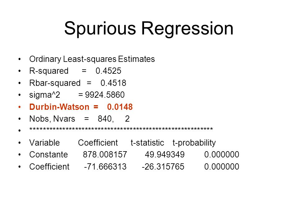 Spurious Regression Ordinary Least-squares Estimates