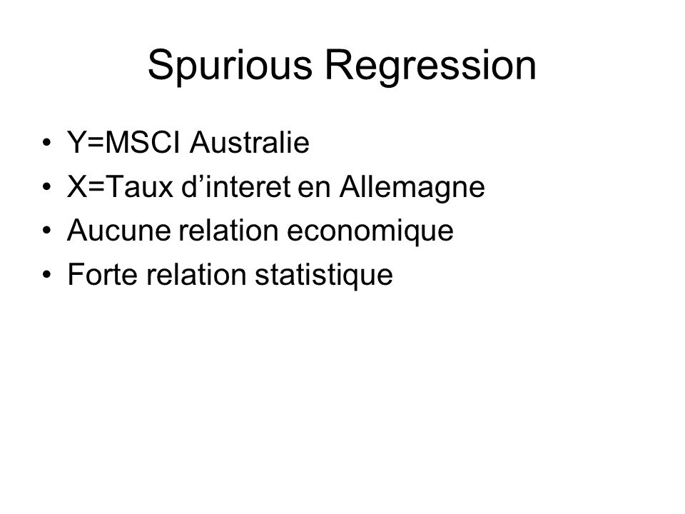 Spurious Regression Y=MSCI Australie X=Taux d'interet en Allemagne
