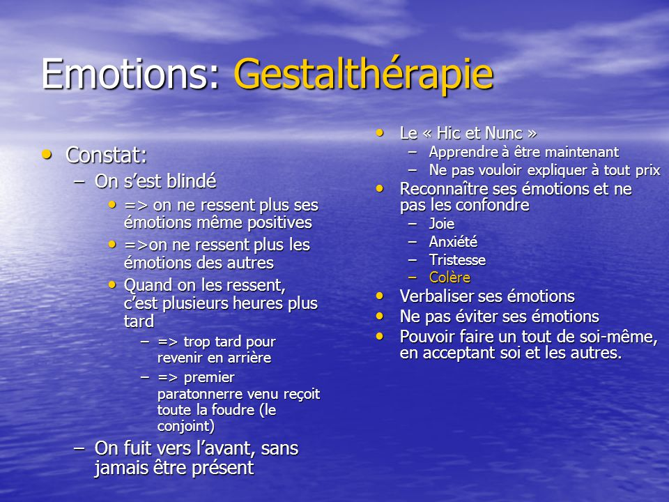 Emotions: Gestalthérapie
