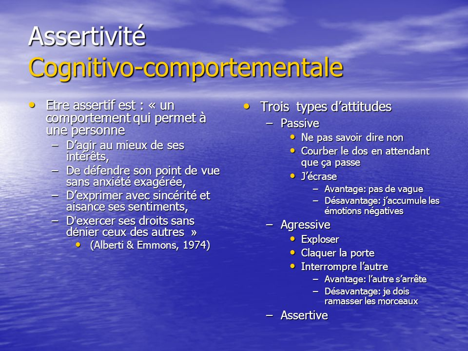 Assertivité Cognitivo-comportementale