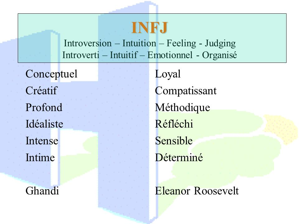 INFJ Introversion – Intuition – Feeling - Judging Introverti – Intuitif – Emotionnel - Organisé