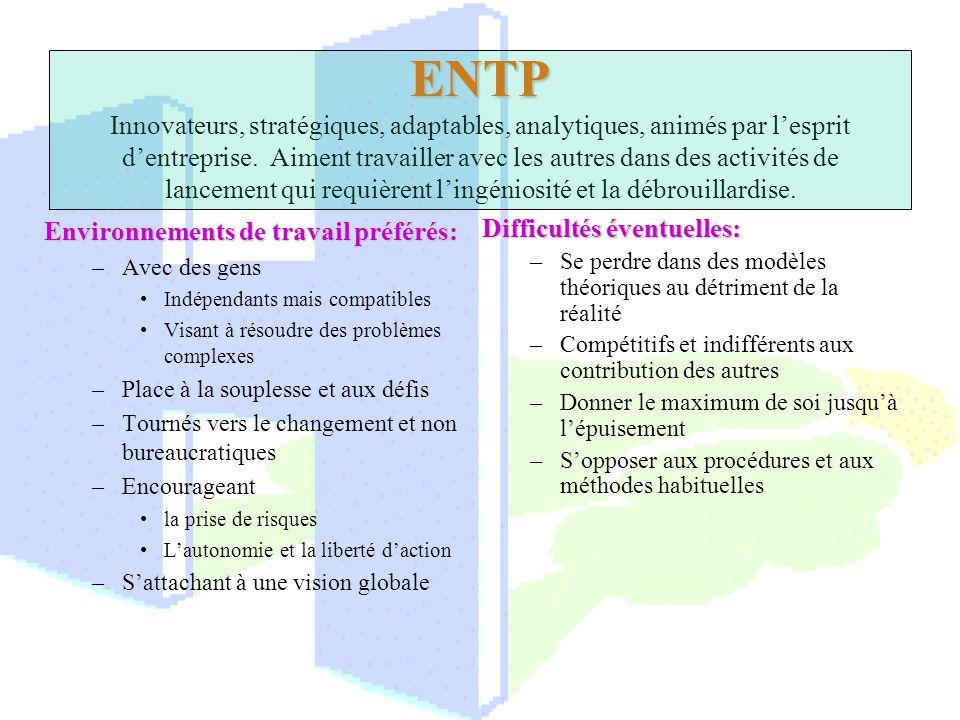 ENTP Innovateurs, stratégiques, adaptables, analytiques, animés par l'esprit d'entreprise. Aiment travailler avec les autres dans des activités de lancement qui requièrent l'ingéniosité et la débrouillardise.