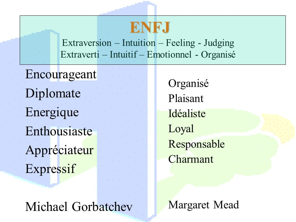 ENFJ Extraversion – Intuition – Feeling - Judging Extraverti – Intuitif – Emotionnel - Organisé