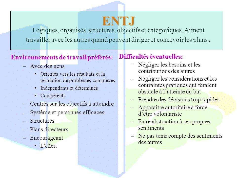 ENTJ Logiques, organisés, structurés, objectifs et catégoriques