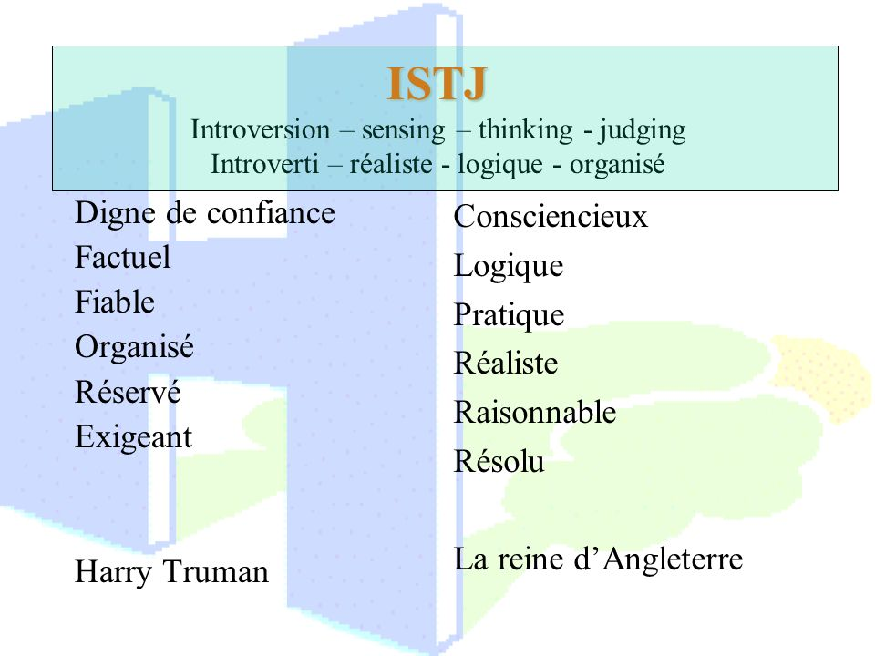 ISTJ Introversion – sensing – thinking - judging Introverti – réaliste - logique - organisé