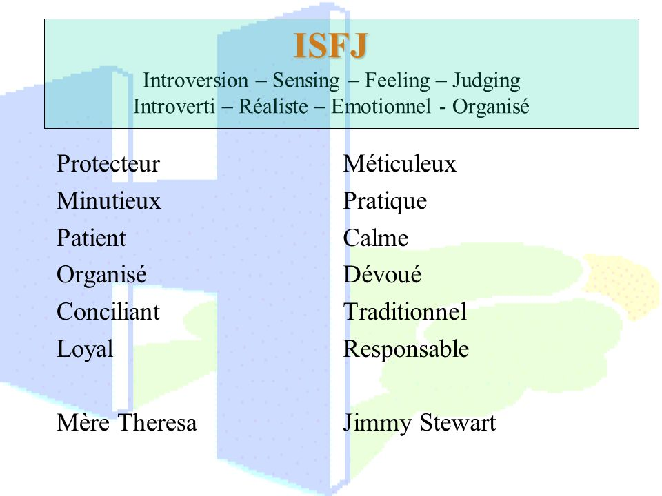 ISFJ Introversion – Sensing – Feeling – Judging Introverti – Réaliste – Emotionnel - Organisé