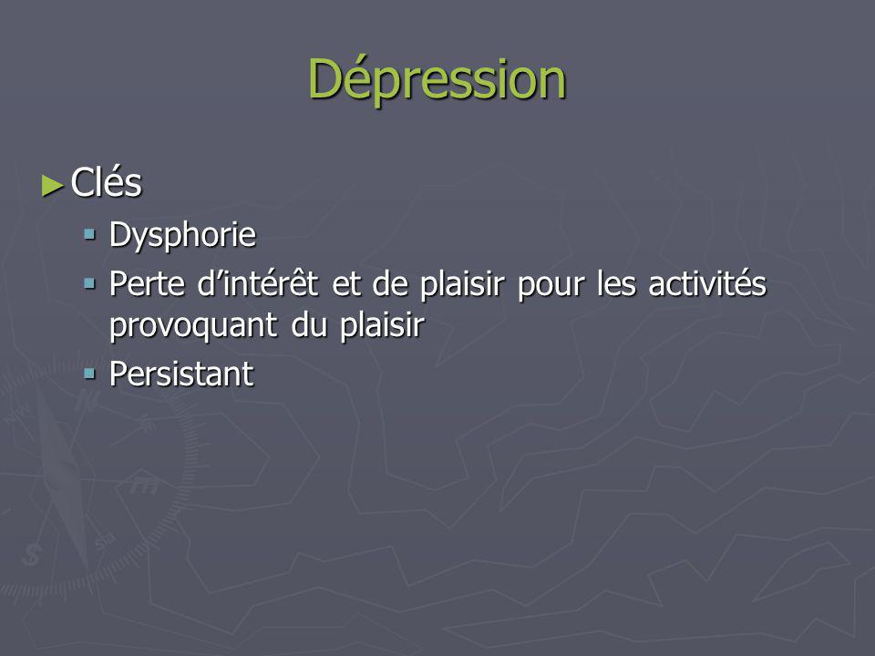 Dépression Clés Dysphorie