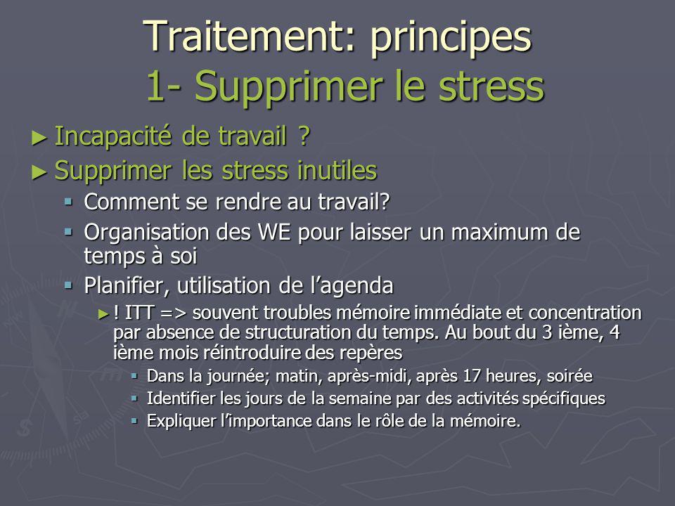 Traitement: principes 1- Supprimer le stress