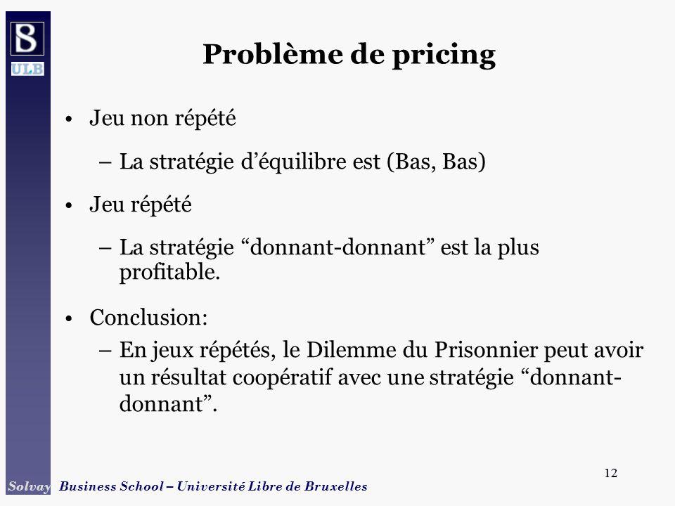 Problème de pricing Jeu non répété
