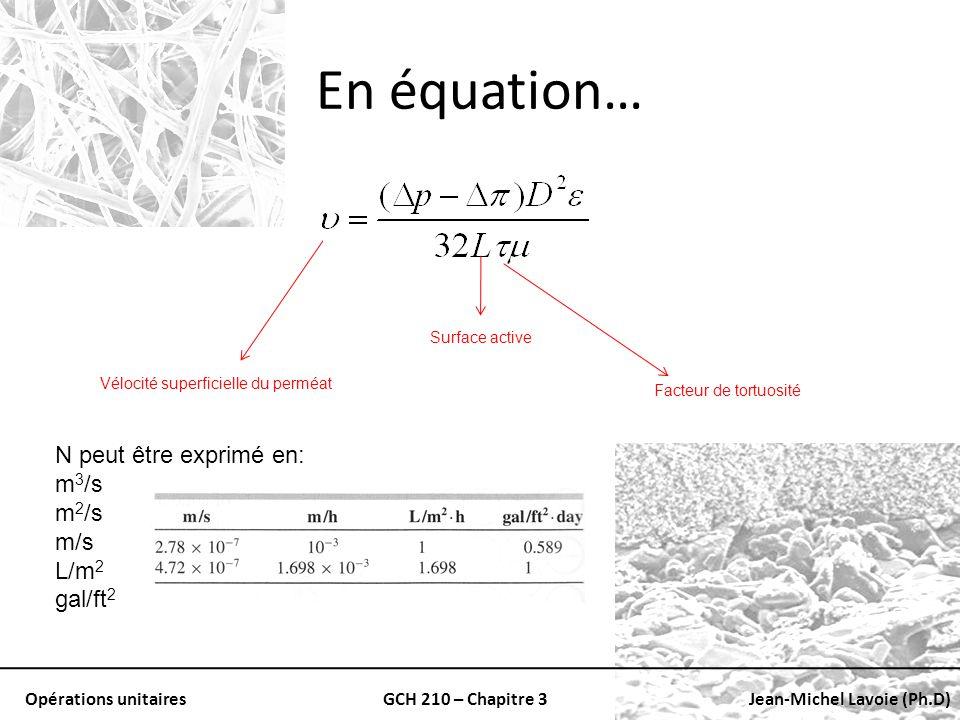 En équation… Ν peut être exprimé en: m3/s m2/s m/s L/m2 gal/ft2