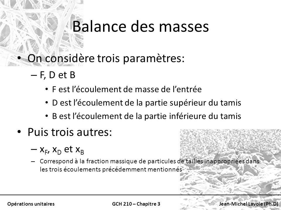 Balance des masses On considère trois paramètres: Puis trois autres: