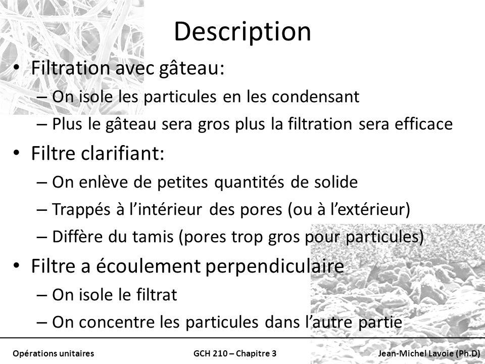 Description Filtration avec gâteau: Filtre clarifiant: