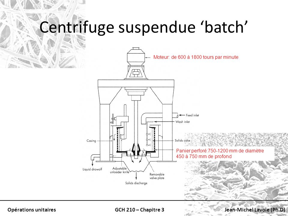 Centrifuge suspendue 'batch'