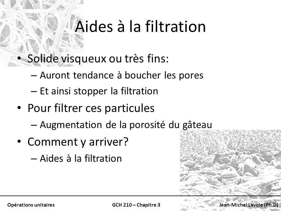 Aides à la filtration Solide visqueux ou très fins: