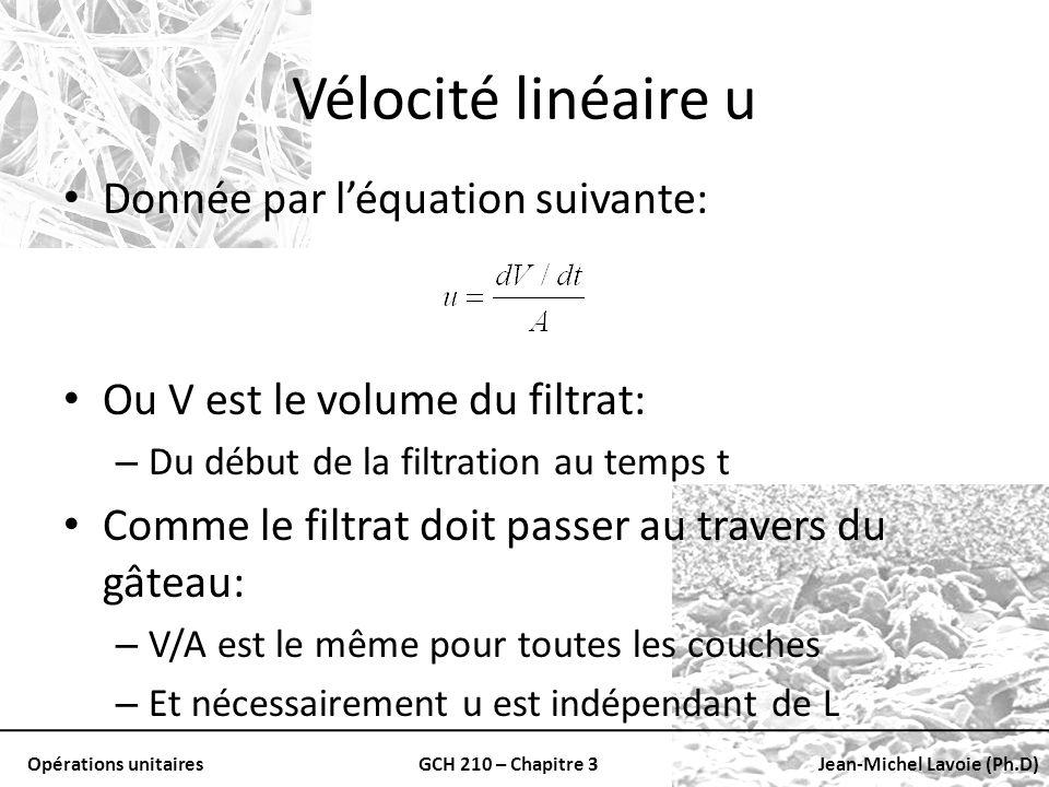 Vélocité linéaire u Donnée par l'équation suivante: