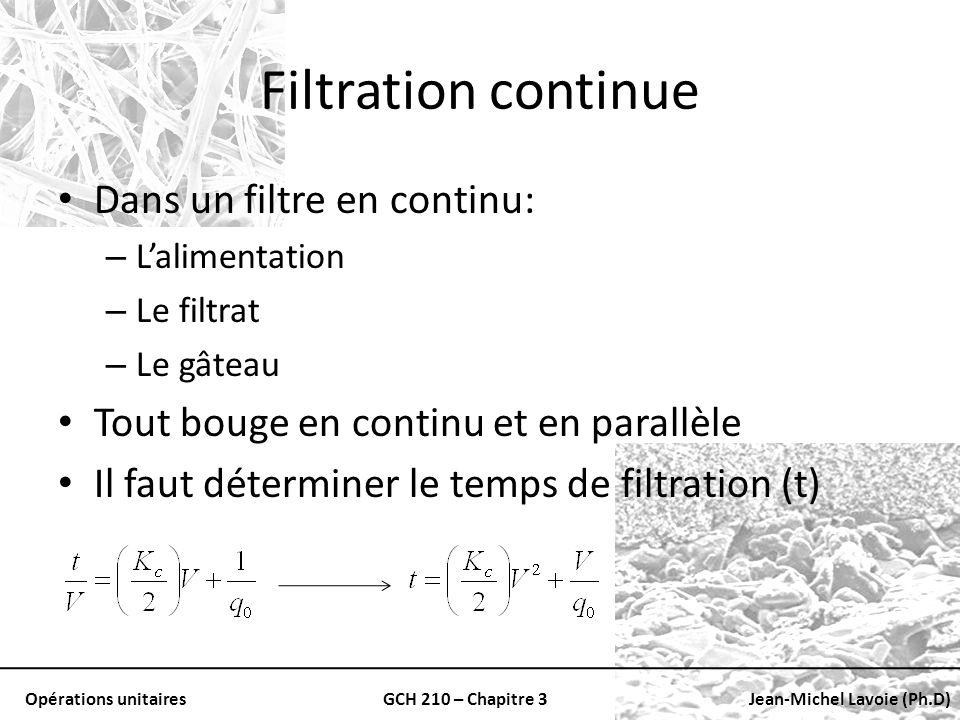 Filtration continue Dans un filtre en continu: