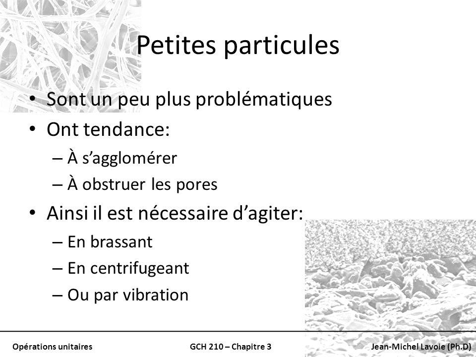 Petites particules Sont un peu plus problématiques Ont tendance:
