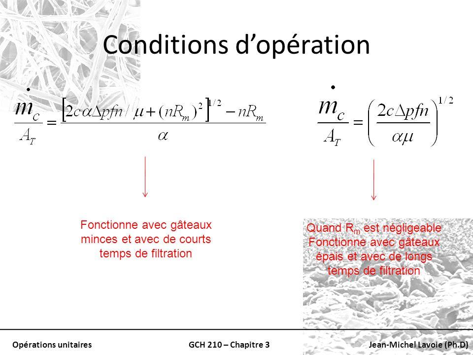 Conditions d'opération