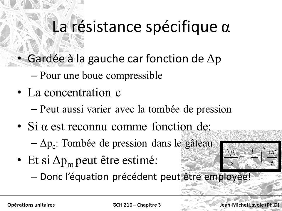La résistance spécifique α