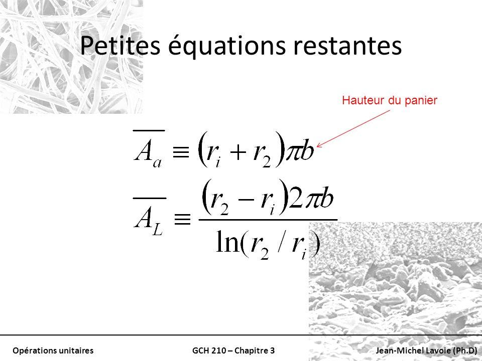Petites équations restantes