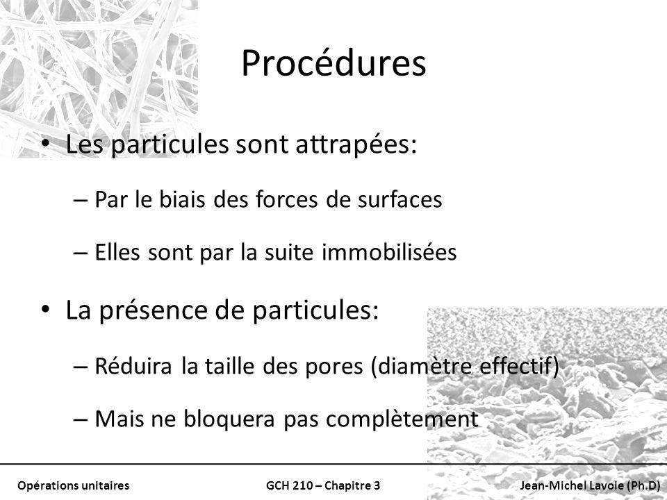 Procédures Les particules sont attrapées: La présence de particules: