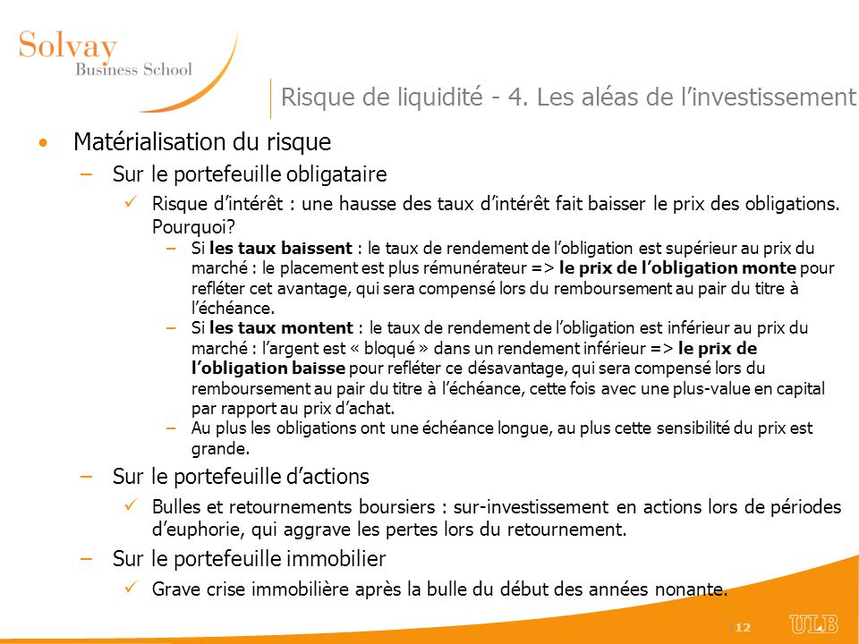 Risque de liquidité - 4. Les aléas de l'investissement