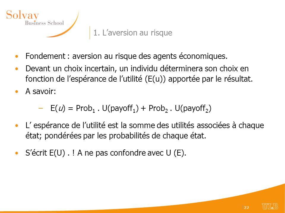 1. L'aversion au risque Fondement : aversion au risque des agents économiques.