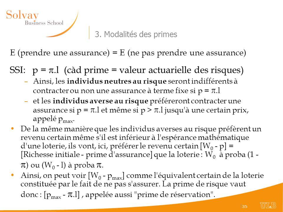SSI: p = .l (càd prime = valeur actuarielle des risques)