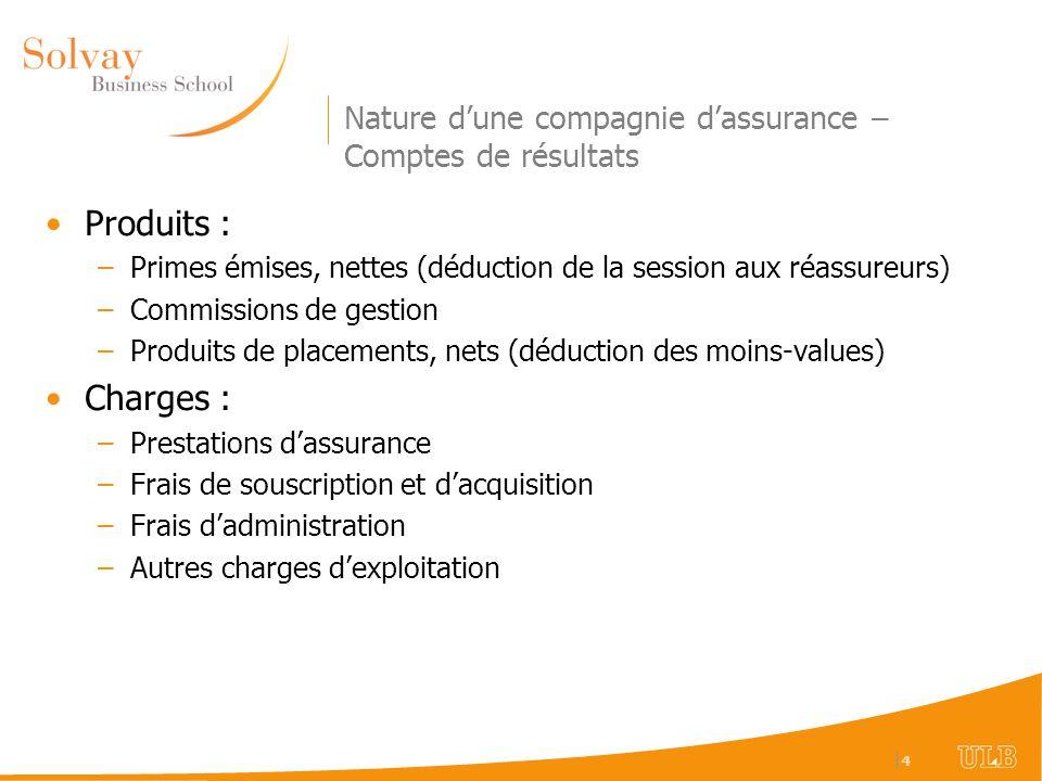 Nature d'une compagnie d'assurance – Comptes de résultats