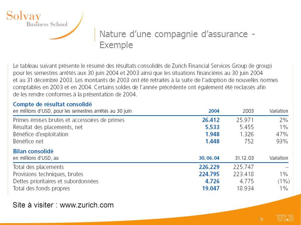 Nature d'une compagnie d'assurance - Exemple