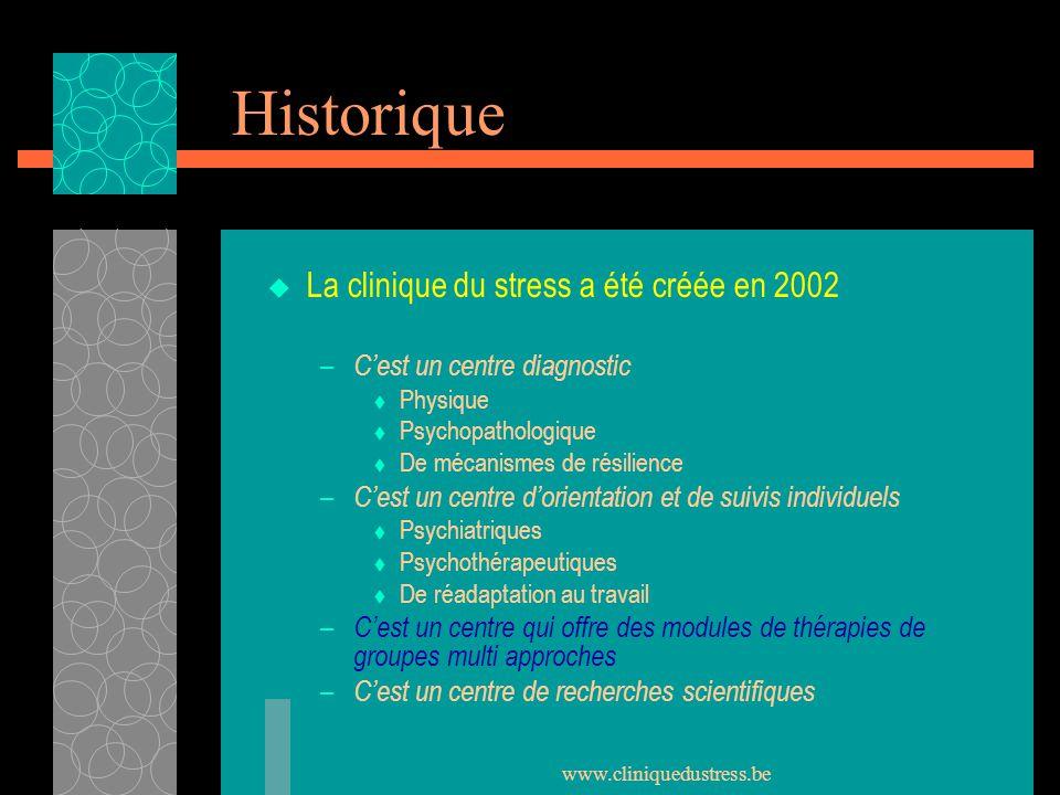 Historique La clinique du stress a été créée en 2002