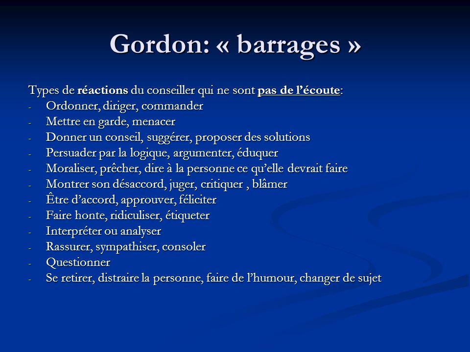 Gordon: « barrages » Types de réactions du conseiller qui ne sont pas de l'écoute: Ordonner, diriger, commander.