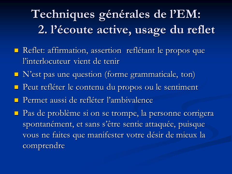 Techniques générales de l'EM: 2. l'écoute active, usage du reflet