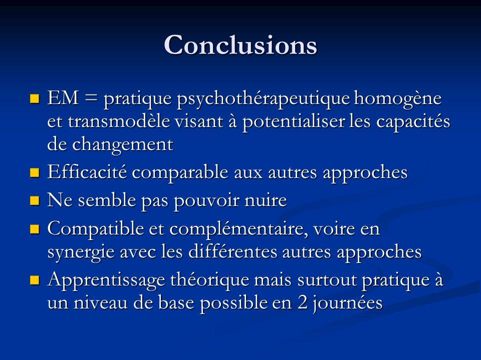 Conclusions EM = pratique psychothérapeutique homogène et transmodèle visant à potentialiser les capacités de changement.