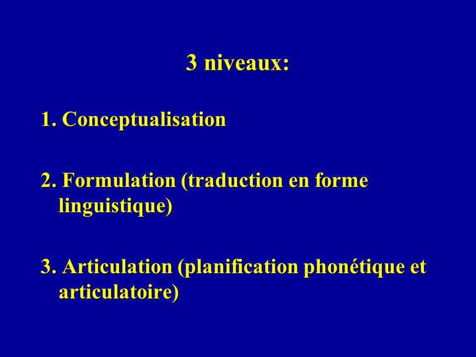 3 niveaux: 1. Conceptualisation