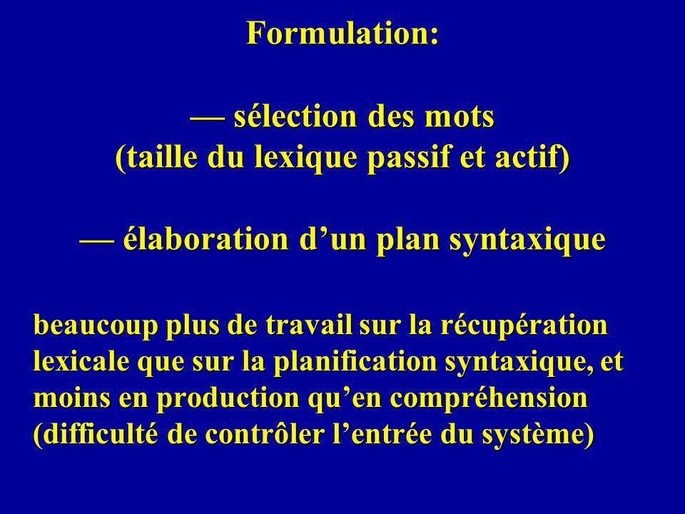 Formulation: — sélection des mots (taille du lexique passif et actif) — élaboration d'un plan syntaxique