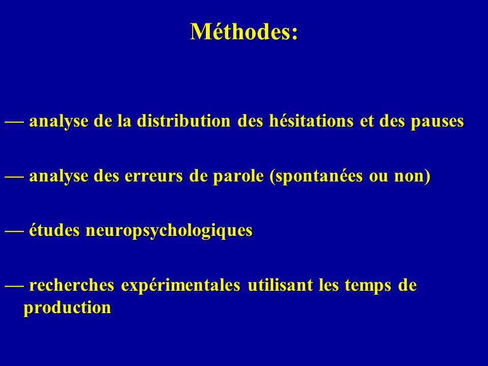 Méthodes: — analyse de la distribution des hésitations et des pauses