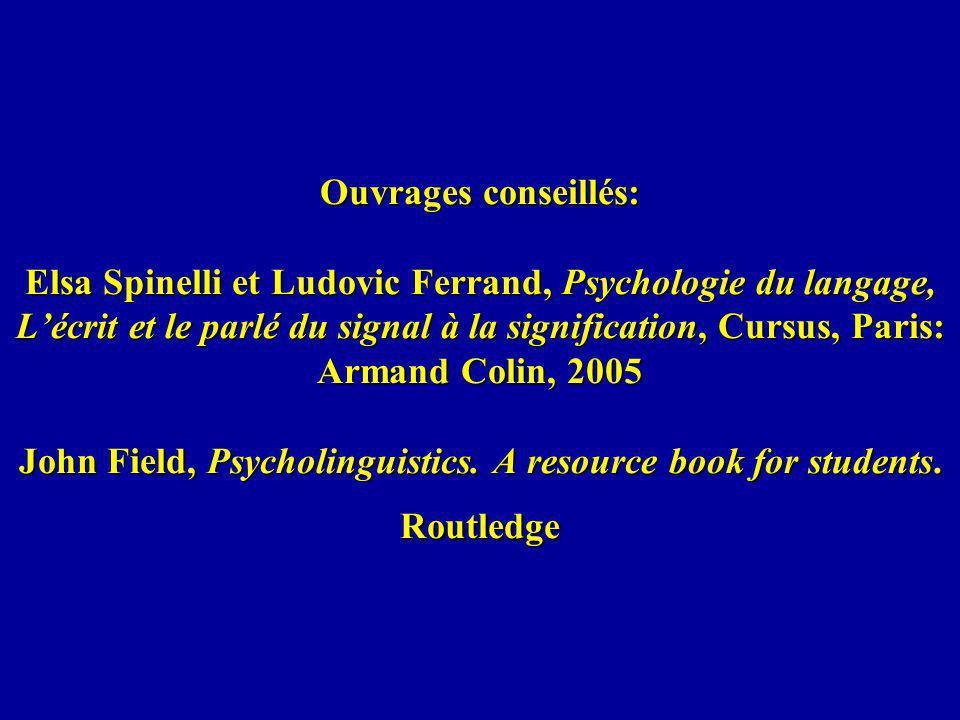 Ouvrages conseillés: Elsa Spinelli et Ludovic Ferrand, Psychologie du langage, L'écrit et le parlé du signal à la signification, Cursus, Paris: Armand Colin, 2005 John Field, Psycholinguistics.