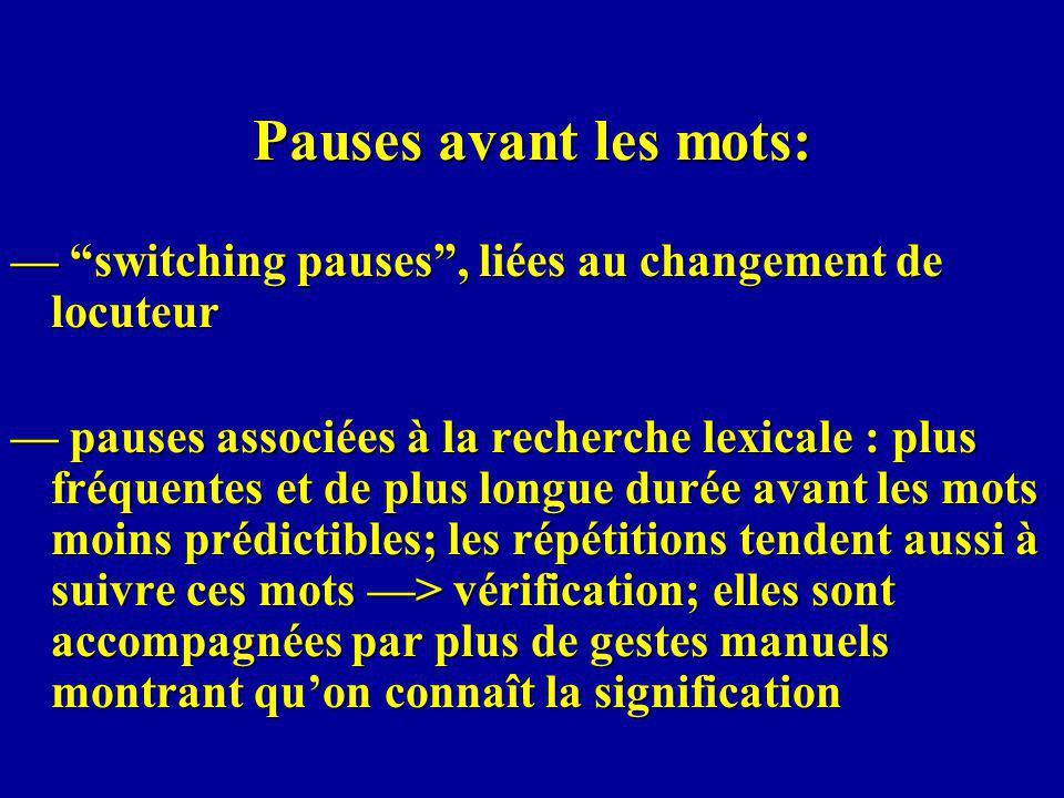 Pauses avant les mots: — switching pauses , liées au changement de locuteur.