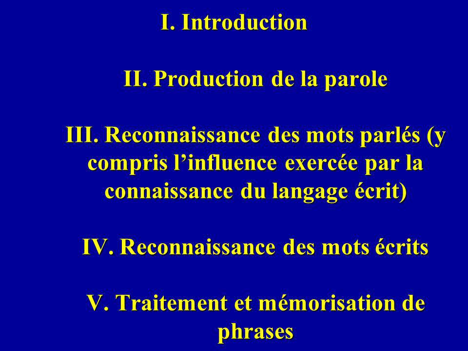 I. Introduction II. Production de la parole III