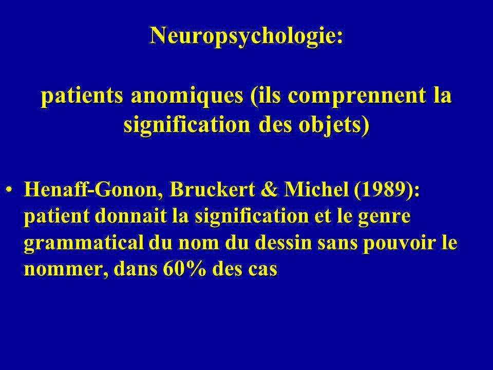 Neuropsychologie: patients anomiques (ils comprennent la signification des objets)
