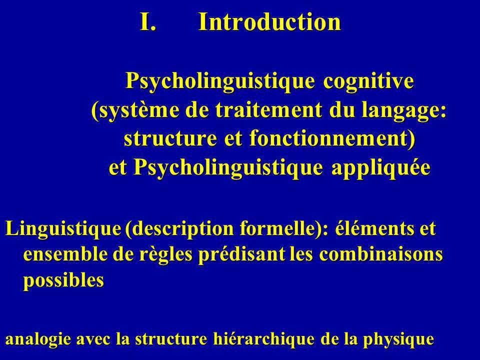 Introduction Psycholinguistique cognitive (système de traitement du langage: structure et fonctionnement) et Psycholinguistique appliquée