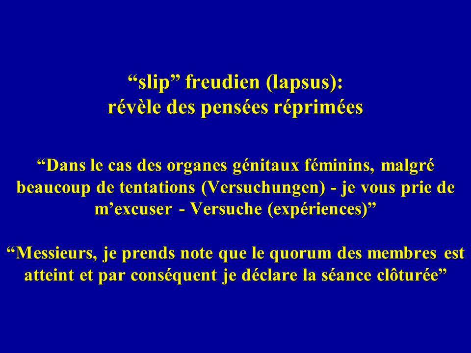 slip freudien (lapsus): révèle des pensées réprimées Dans le cas des organes génitaux féminins, malgré beaucoup de tentations (Versuchungen) - je vous prie de m'excuser - Versuche (expériences) Messieurs, je prends note que le quorum des membres est atteint et par conséquent je déclare la séance clôturée