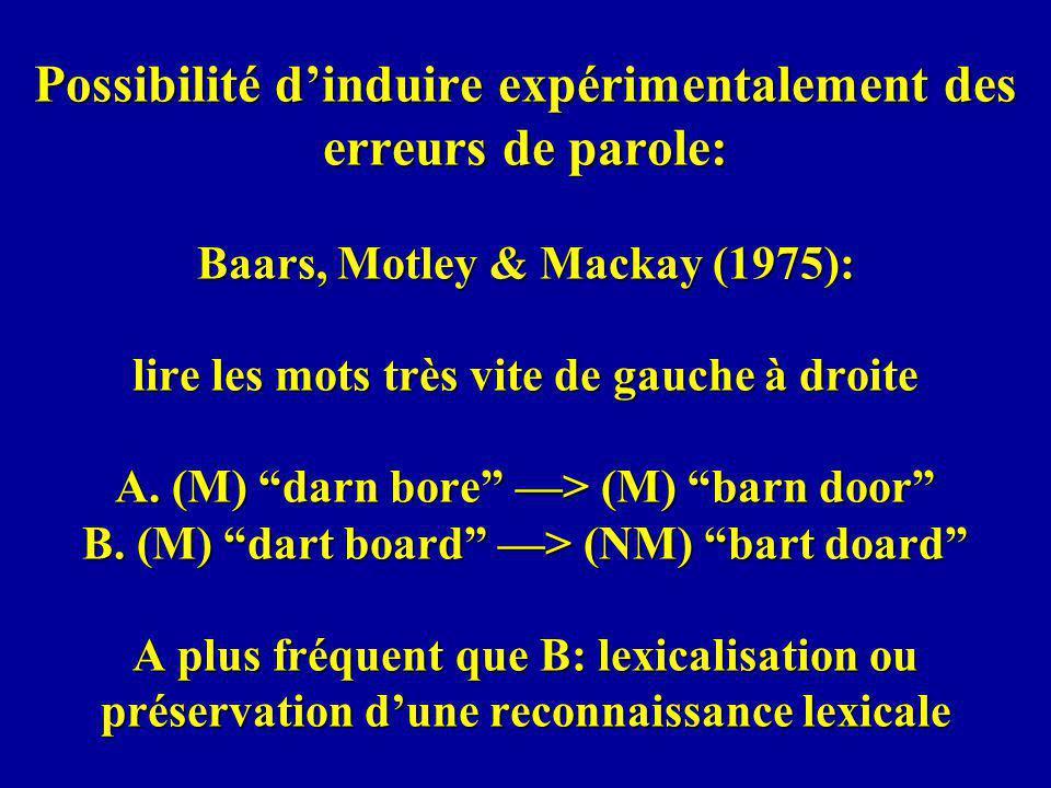 Possibilité d'induire expérimentalement des erreurs de parole: Baars, Motley & Mackay (1975): lire les mots très vite de gauche à droite A.