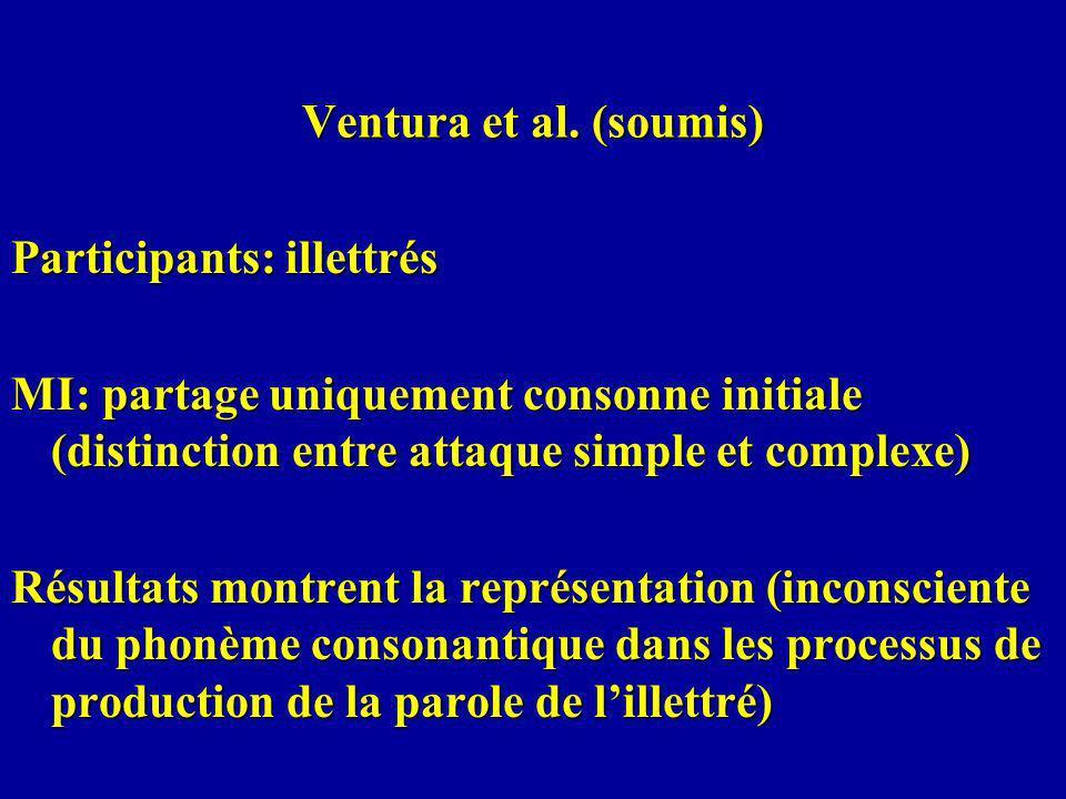 Ventura et al. (soumis) Participants: illettrés. MI: partage uniquement consonne initiale (distinction entre attaque simple et complexe)