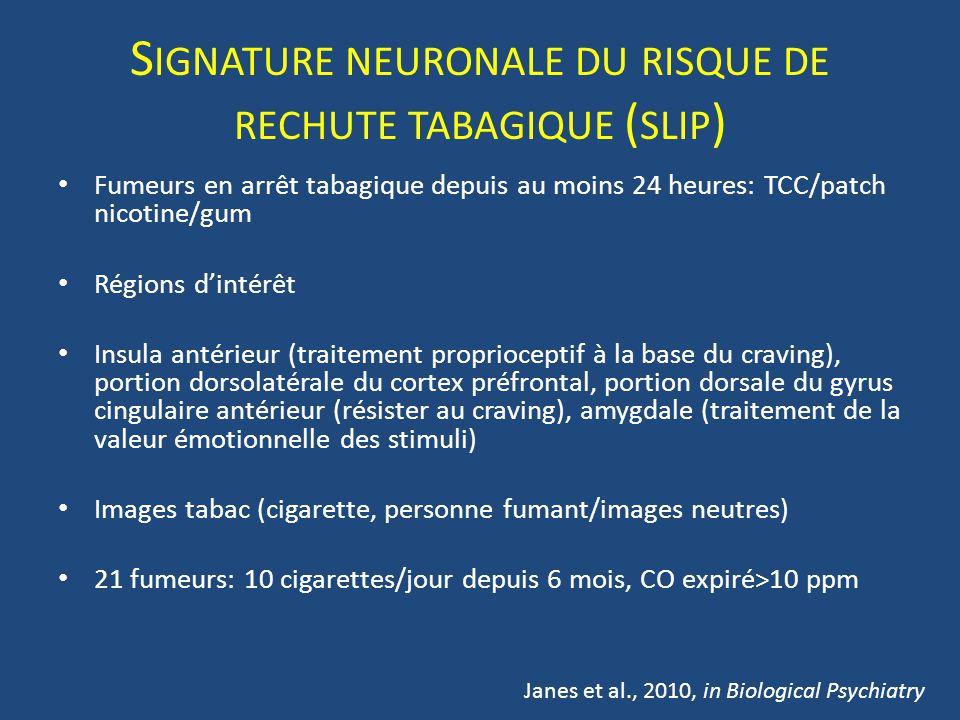 Signature neuronale du risque de rechute tabagique (slip)