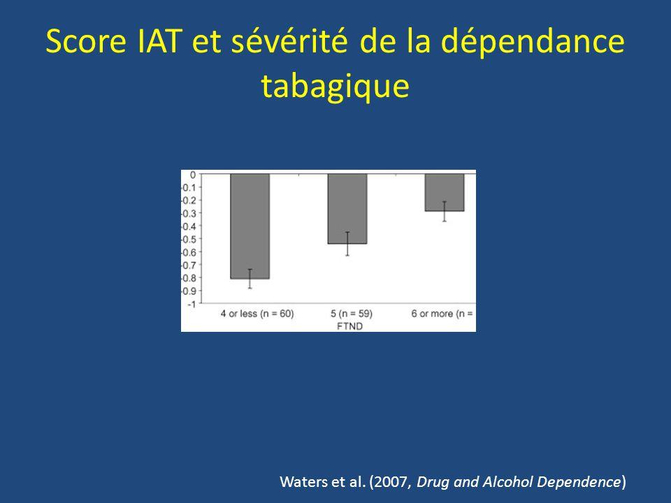 Score IAT et sévérité de la dépendance tabagique